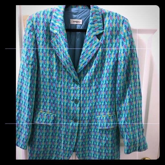 Missoni zigzag blue collared 3-button Blazer sz 12